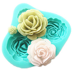 4 Rosen Silikonkuchenform-Backenwerkzeuge Zubehör für die Küche Fondant sugarcraft Schokoladenform Dekorationswerkzeuge