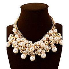 Women's Statement Necklaces Ball Pearl Imitation Diamond Alloy Fashion European Luxury Statement Jewelry Multi Layer Elegant Jewelry For