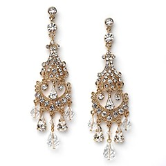 Gold Chandelier Bridal Earrings feature exquisite Vintage Drop Earrings CZ Crystal Diamond Earring For Wedding Bridal