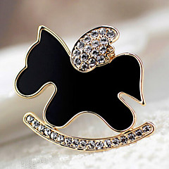 Lucky Star Women's Fashion Rhinestone Pony Brooch