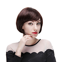 Mono Top 100% Human Hair Short Straight Bobo Wig with Side Bangs