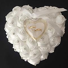 Spitzeherzform mit Rose und Bogen Ring Box Kissen für die Hochzeit (weitere Farben) (26 * 26 * 14cm)