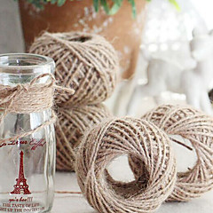 60Yards Natural Jute Burlap Hessian Ribbon Trims Tape Rustic Wedding Decor(2mm wide)
