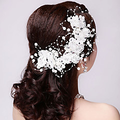 Kadın Dantel / İmitasyon İnci Başlık-Düğün / Özel Anlar / Dış Mekan Çiçekler 3 Parça