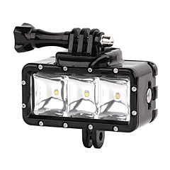 suptig 30m 3-modus LED vanntett video fill lys dykking lys satt for gopro hero4 / 3 + / 3/2 - svart