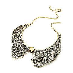 Vintage Style Bronze Hollow Metal Flower Shape Collar Choker Necklace
