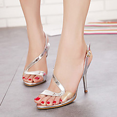 Women's Shoes Patent Leather Stiletto Heel Heels/Peep Toe/Platform/Open Toe Sandals Casual Silver/Gold