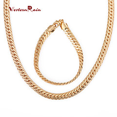 WesternRain Women Gold Plated Necklace Set Fashion Chunky Cool Necklace Bracelet Jewelry set