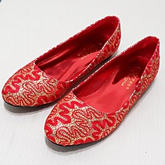 Women's Shoes Patent Leather Flat Heel Ballerina Flats Wedding/Party & Evening/Casual Red/Gold