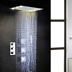 termosztátos króm fürdőszoba zuhany csaptelep szett, váltakozó áram 6 db LED-es lámpák embeded csapadék zuhanyfej