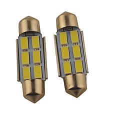 2ks carking ™ věncoví 36mm / 39mm 1,2 w 6 * 5630smd 140ml 6000K bílé světlo LED lampa Řím (DC 12V)