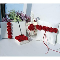 יוקרה אדומה נועזת עלתה בשורה חתונה סט אוסף סאטן (4 חתיכות)