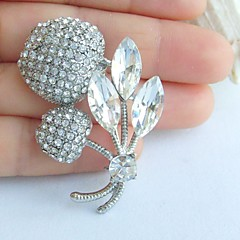 1.97 Inch Silver-tone Clear Rhinestone Crystal Cherry Brooch Art Decorations