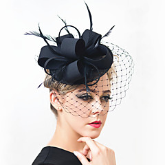 Girl Wedding Party Satin Feather Net Clip Headband Fascinator SFC12517 (more colors)