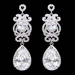 Vintage Women's Water Dorp Earrings Zircon Diamond Long Silver Earring For Wedding Bridal