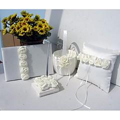 fet elfenben luksus rose foret bryllup satin samling sett (4 stk)