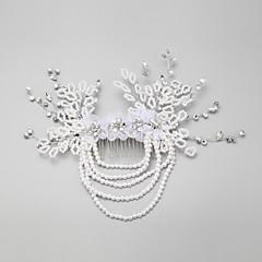 Vrouwen / Bloemenmeisje Bergkristal / Licht Metaal / Imitatie Parel / Chiffon Helm-Bruiloft / Speciale gelegenheden Haarkammen 1 Stuk Wit