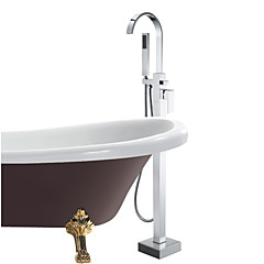 Modern Bad en douche Inclusief handdouche / Staat op vloer with  Keramische ventiel Single Handle Een Hole for  Chroom , Badkraan