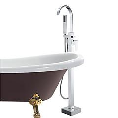 Moderne Badekar & Bruser Håndbruser inkluderet / Gulvstående with  Keramik Ventil Enkelt håndtag Et Hul for  Krom , Badekarshaner