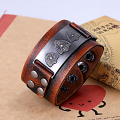 Vintage Style Round Genuine Leather Bracelet For Men's(Brown)(1Pc)