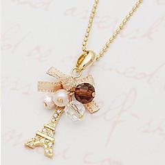 MISS U Women's Pearl Bowknot The Eiffel Tower Necklace