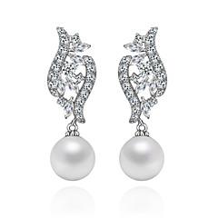 Kubieke Zirkonia/Plated Silver/Imitatieparel Dames KroonluchterOorbellen Oorbel Imitatie Parel/Kubieke Zirkonia
