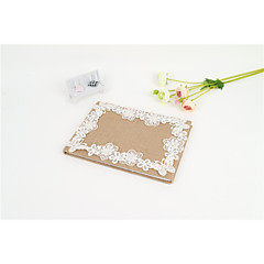 Linen Guest Book With Lace Flower