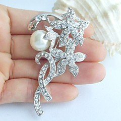 2.76 Inch Silver-tone Pearl Rhinestone Crystal Flower Bridal Brooch Wedding Decorations