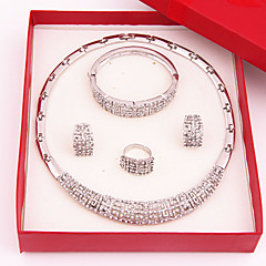 Classic Party Crystal Alloy Sliver Plated (Including Necklace, Earring, Bracelet, Ring) Jewelry Sets