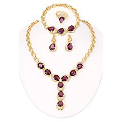 WesternRain 18k Gold Plated Fashionable Australia Rhinestone Crystal Long Drop Pendant Necklace Earring Jewelry Set