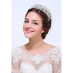 Women's Sterling Silver / Alloy Headpiece-Wedding / Special Occasion / Casual Tiaras 1 Piece Clear Round