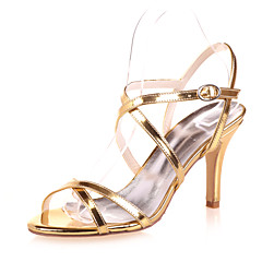Women's Shoes Patent Leather Spring / Summer / Fall Open Toe Wedding / Party & Evening Stiletto Heel Black / Blue / Silver / Gold