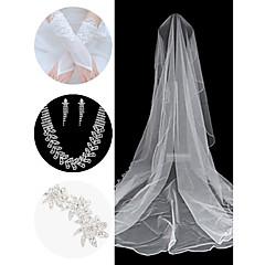 bryllup tilbehør satt (slør& hansker& hodeplagg& halskjede& øredobber)