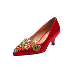 Women's Wedding Shoes Pointed Toe / Closed Toe Heels Wedding / Party & Evening / Dress Red / Champagne