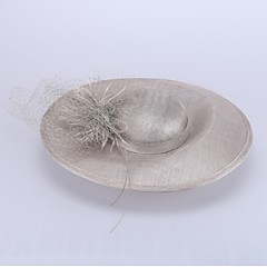Women's Flax Headpiece-Wedding / Special Occasion Hats 1 Piece Head circumference 57cm