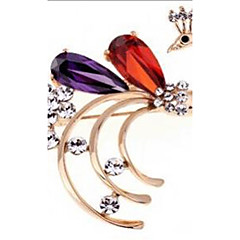 Dame Brocher Krystal Zirkonium Kvadratisk Zirconium Mode Påfugl Skærmfarve Smykker Bryllup Fest Speciel Lejlighed Fødselsdag Daglig
