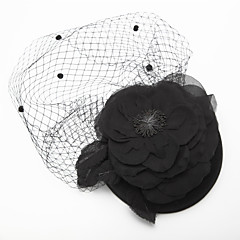 Women's / Flower Girl's Tulle / Chiffon / Fabric Headpiece-Wedding / Special Occasion Birdcage Veils 1 Piece