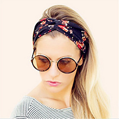 Women's Vintage Wide Stretch Yoga Elastic Turban Floral Twisted Knotted Headband