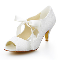 Women's Summer Peep Toe Stretch Satin Wedding / Dress Cone Heel Ribbon Tie Ivory