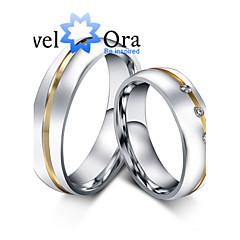 指輪 ファッション パーティー ジュエリー キュービックジルコニア / スチール 女性 バンドリング 1個,ワンサイズ ゴールデン