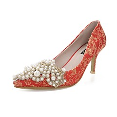Women's Wedding Shoes Heels Comfort Pointed Toe Heels Wedding and Party Red