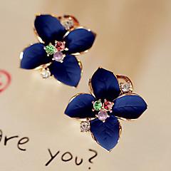 スタッドピアス ドロップイヤリング ファッション 真珠 クリスタル ゴールドメッキ 模造ダイヤモンド フラワー ホワイト 虹色 ジュエリー のために パーティー 日常 カジュアル 2 個