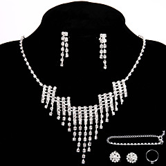 Wedding/Party Jewelry Sets Crystal Chain Necklace  Ring Bracelet Earrings Sets with 2 Pairs of Rhinestone Earrings