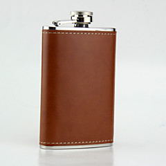 The Stainless Steel Hip Flasks 5-oz Brown  Leather Flask