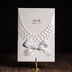 Folded Wedding Invitations 50-Invitation Cards Modern Style Floral Style Art Paper Flowers Ribbons