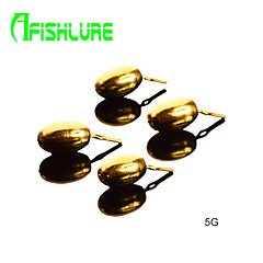 Afishlure Pesca Copper Pour Fishing Accessaries Copper Pendant 5.0g Fishing Weights Fishing Sinkers 8pcs/lot