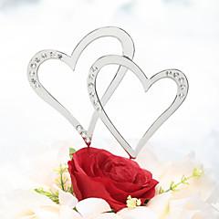 Décorations de Gâteaux Non personnalisée Cœur Chrome Mariage Commémoration Stras ArgentThème de plage Thème classique Thème de conte de