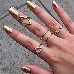 Anéis Casamento / Pesta / Diário / Casual Jóias Liga Feminino Anéis Meio Dedo 1conjunto,8 Dourado / Prateado
