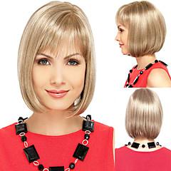 cor louro em linha reta longo bobo meio perucas de cabelo sintético