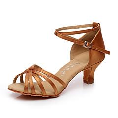Nemoguće personalizirati - Ženske - Plesne cipele - Latino / Salsa - Saten / Filc - Kubanska potpetica - Crna / Smeđa / Crvena